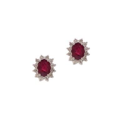 Classic Ruby and Diamond Earrings