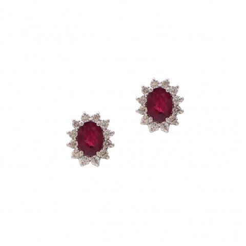 Classic Ruby and Diamond Earrings
