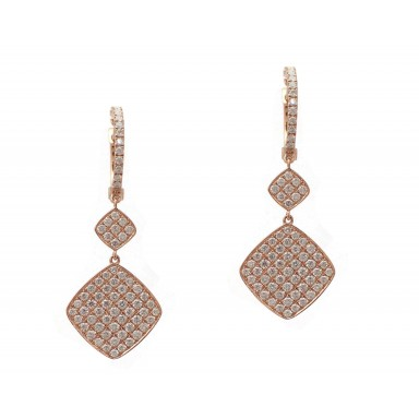 Rose Gold Double Diamond Drop Earrings