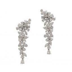 Hanging Diamond Cluster Earrings