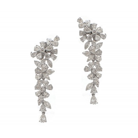 Hanging Diamond Cluster Earrings