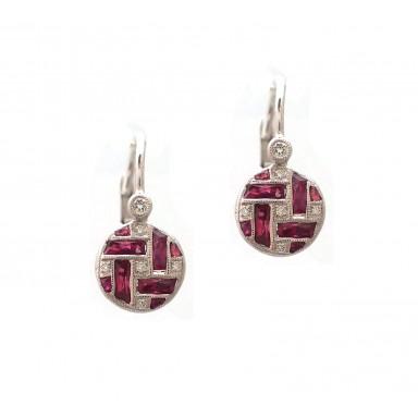 Antique Style Ruby Earrings