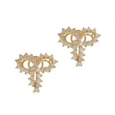 Yellow Gold Diamond Bow Earrings