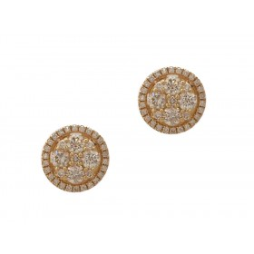 Yellow Gold Button Earrings
