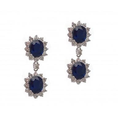 Double Sapphire Drop Earrings