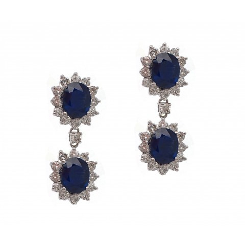 Double Sapphire Drop Earrings
