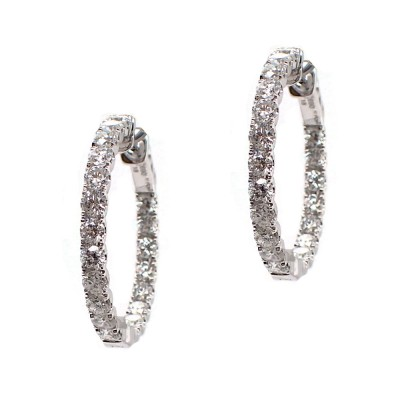 Diamond Hoops - 1 Inch Round