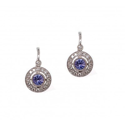 Antique Style Blue Topaz Earrings