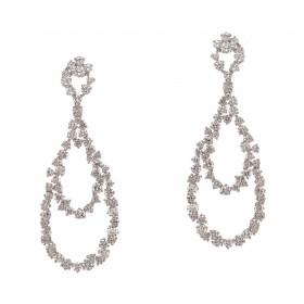 Pear Shaped Hanging Diamond Earrings