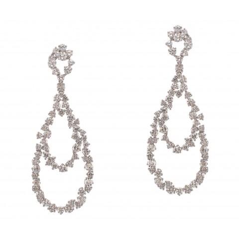 Pear Shaped Hanging Diamond Earrings