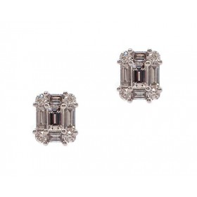 Baguette Cluster Diamond Earrings