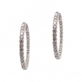 Classic Diamond Hoops - 1-1/4 Inch