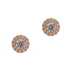 Diamond Cluster Halo Earrings - Yellow Gold