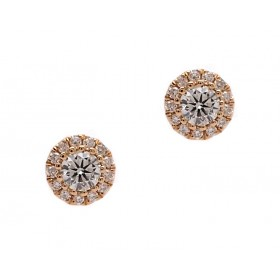 Diamond Cluster Halo Earrings - Yellow Gold
