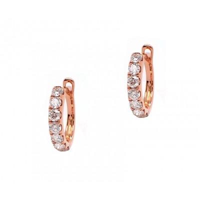 Diamond Hoop Huggie Earrings - Rose