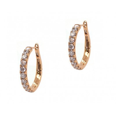 Diamond Hoop Earrings - Yellow