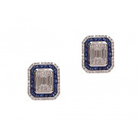 Baguette Cluster Diamond Earrings With Sapphires