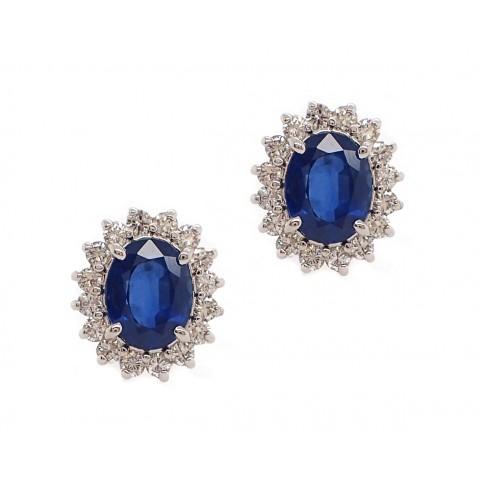 Sapphire and Diamond Halo Earrings