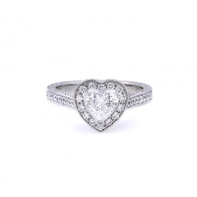 Antique Style Heart Shape Diamond Engagement Ring