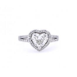 Split Shank Heart Shape Diamond Engagement Ring