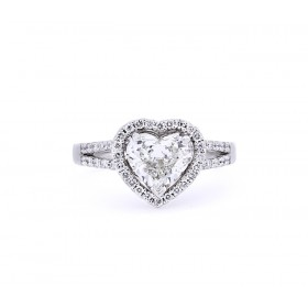 Split Shank Heart Shape Diamond Engagement Ring