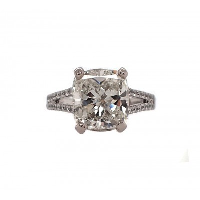 Magnificent Cushion Cut Diamond in Split Shank Setting