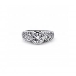 Round Bezel Set Diamond Engagement Ring