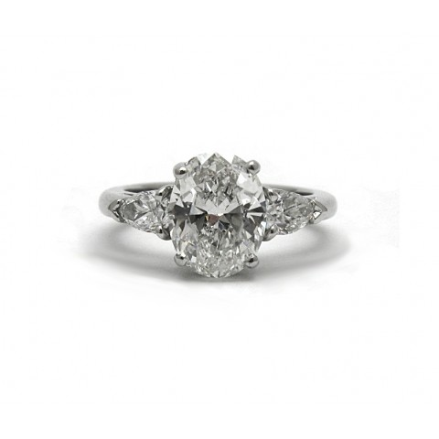 Oval and Pear Shape Diamond Engagement Ring