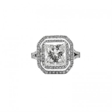Princess Cut and Double Halo Diamond Engagement Ring