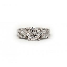 Three Stone Round Brilliant Cut Engagement Ring