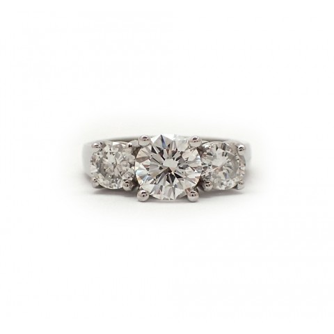 Three Stone Round Brilliant Cut Engagement Ring
