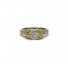 Martin Flyer Radiant Cut Diamond with Fancy Yellow Trapezoids