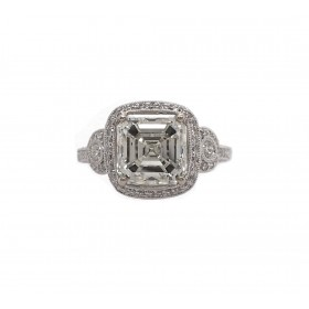 Stunning 4CT Asscher Cut Diamond Ring