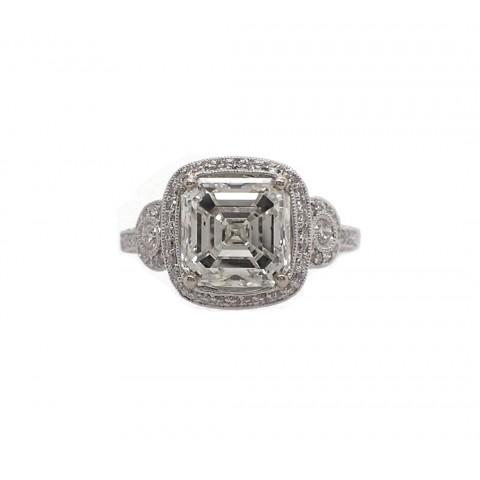 Stunning 4CT Asscher Cut Diamond Ring