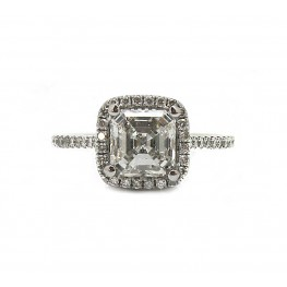 1-1/2CT Asscher Cut Halo Ring