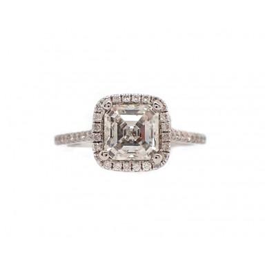 1.5CT Asscher Cut Halo Engagement Ring