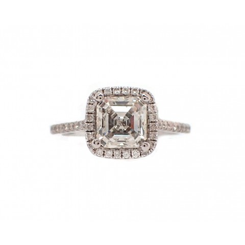 1.5CT Asscher Cut Halo Engagement Ring