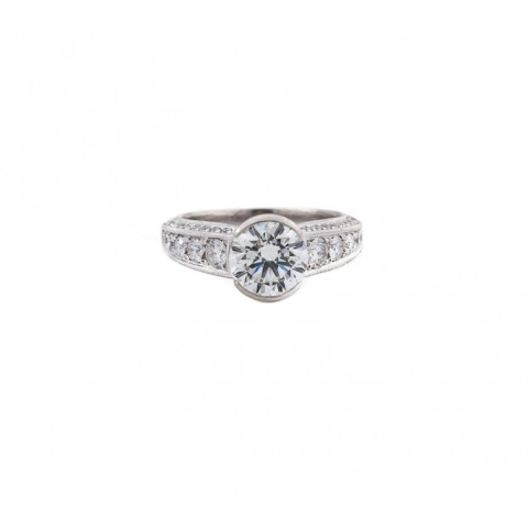 Semi-Bezel Round Antique Style Diamond Ring