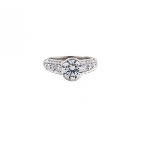 Semi-Bezel Round Antique Style Diamond Ring
