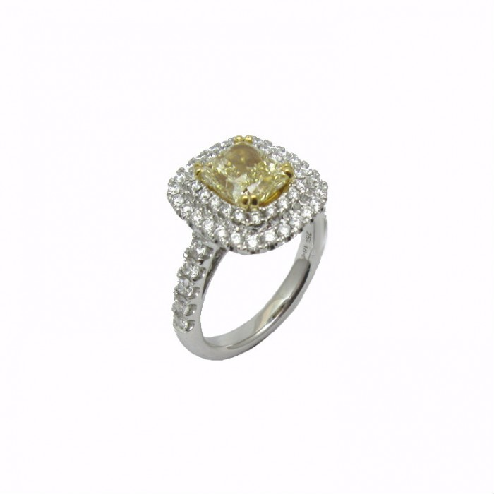 Fancy Yellow Radiant and Double Halo Diamond Engagement Ring
