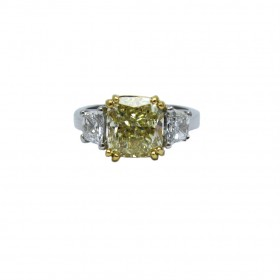 Fancy Yellow Cushion and Trapezoid Diamond Engagement Ring