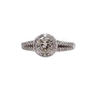 Split Shank European Cut Diamond Engagement Ring