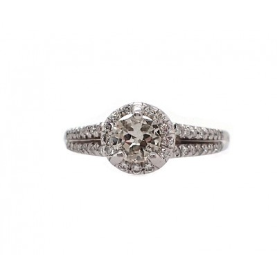 Split Shank European Cut Diamond Engagement Ring