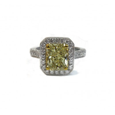 Magnificent Fancy Yellow Radiant Diamond Engagement Ring