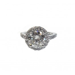Contemporary Round Halo Diamond Engagement Ring