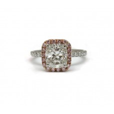 Cushion with Pink Diamond Halo