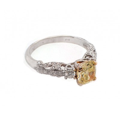 Antique Style Fancy Yellow Diamond Ring