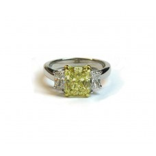Fancy Yellow Radiant and Trapezoid Diamond Engagement Ring