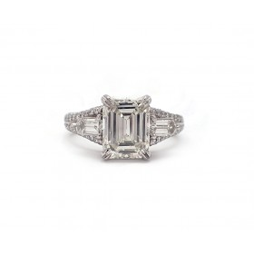 Emerald Cut and Bullet Engagement Ring