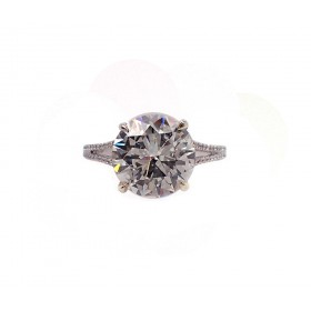 4CT Round Split Shank Engagement Ring